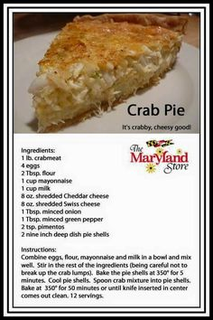 Like crab cakes in a pie shell! Crab Cake Recipes, Quiche Recipes, Fish Recipes, Seafood Recipes, Cooking Recipes, Crab Pie Recipe, Recipies, Seafood Appetizers, Canned Crab Recipes
