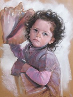 Portrait of a child,soft pastel on paper