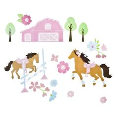 For my little horse lovers pink and green room