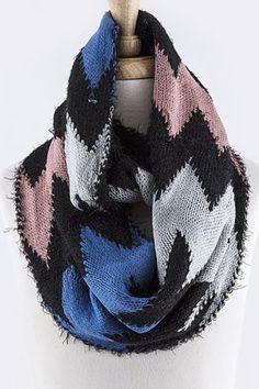 B58 Soft Fluffy Furry Chevron Eyelash Yarn Pink Blue Gray Black Infinity  Scarf 7ea7348d26d