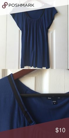 🎉sale🎉Blue and Black Top Blue top with black ribbon beck detail, flutter sleeves. Cute! Worn once, excellent condition. Gap Tops Tees - Short Sleeve