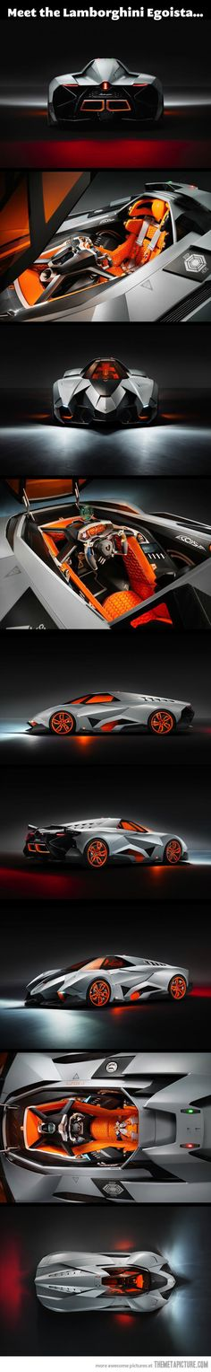 Forget the Batmobile, I want the Lamborghini Egoista… This reminds me of the old racing game Wipeout