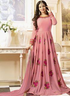 Buy bollywood actress salwar kameez online. Staggering embroidered and resham Ayesha Takia pink  floor length anarkali suit.
