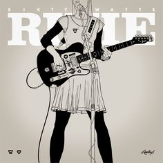 PRINT Nº015 - SIXTY WATTS - Illustrations & Prints by Gianmarco Magnani #illustration, #print, #music, #guitar, #girl, #woman, #detail, #rock