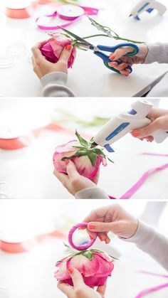 Add a floral touch to your spring parties with this paper flower napkin ring DIY project.