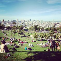 It's under construction right now so isn't as pretty as usual, but the south west side of the park is still great to sit and picnic and it overlooks the city. Places In San Francisco, Mission District, East Bay, West Side, Four Square, Places Ive Been, Chill, Stuff To Do, Dolores Park