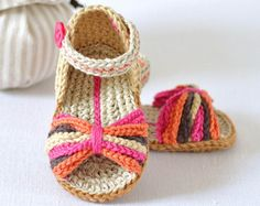 PDF PATTERN Stripy Espadrille Shoes American and English