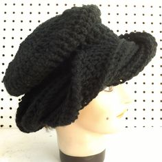Crochet Hat Womens Hat SAMANTHA Fashion Turban Hat Black Hat by strawberrycouture on Etsy 45.00 USD