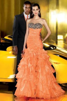 Sweetheart Fit N Flare Dropped Sleeveless Organza Orange Dresses For Prom