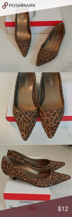 X-Appeal Leopard Print Amy Kitten Heels So, so cute...kitten heels by X-Appeal...worn a few times, in very good condition!   Shoes are a leopard print, slight fuzzy material in muted browns...pointed toes...size 6...manmade materials...comes in box. (FIRM, UNLESS BUNDLED) Xappeal Shoes Heels