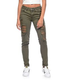 "Add some flare to your colored skinny jeans with these Vintage Reunion olive destroyed skinny jeans from Rewash. The Karma classic rise offers an 8"" front rise while the Vintage Reunion design provides a rigid front with comfort stretch denim back  and a"