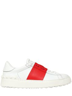 Valentino – Leather Sneakers With Band Detail