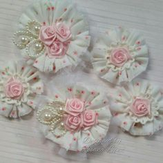 Sewing Fabric Flowers Fabric flowers by Christine Mulvaney Cloth Flowers, Fabric Roses, Fabric Ribbon, Lace Flowers, Felt Flowers, Ribbon Crafts, Flower Crafts, Fabric Crafts, Shabby Chic Flowers
