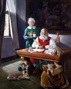 "Claus brings Santa some tea as he answers some of his ""Christmas Mail"