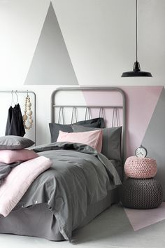 grey and pink - bedroom