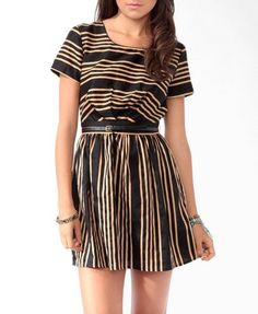 Contrast Striped Dress w/ Belt from Forever21.com