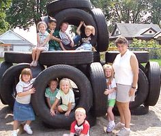 tire playground, reminds me of the one we had at my Elem. school in Midway Old Tires, New Tyres, Tire Playground, Playground Ideas, School Age Crafts, Tire Craft, Kids Play Area, Outdoor Play, Kids Playing