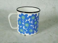 Finel Arabia Floral Mug - Vintage Finel Arabia Blue Enamel Mug