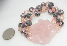 Rose quartz flower Cloisonne ab crystal bead Stretch BRACELET Corsage Beautiful
