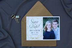 Metallic gold save the date design #wedding #custom #design #graphicdesign #savethedate #savethedatecard #engagementphotos #engaged #gold #metallic