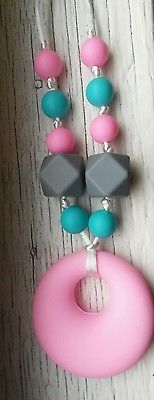 Teething Nursing chew sensory pink Necklace beads baby jewelry Silicone autism