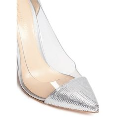 Gianvito Rossi 'Palladium Plexi' clear PVC sequin pumps ($704) ❤ liked on Polyvore featuring shoes, pumps, toe cap shoes, pvc pump, clear acrylic shoes, perspex shoes and lucite shoes