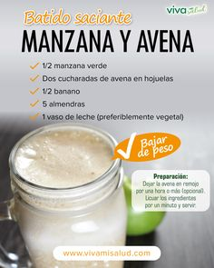 Batido ideal para empezar el día con una alta dosis de energía y con la ventaj Idealer Shake, um mit einer hohen Dosis Energie und mit dem Vorteil in den Tag zu starten Apple Smoothies, Healthy Smoothies, Healthy Drinks, Smoothie Recipes, Healthy Snacks, Healthy Recipes, Juice Recipes, Comidas Fitness, Snacks Sains