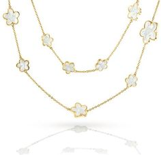 Bling Jewelry Gold Plated Mother Of Pearl 5 Leaf Clover Long Necklace 42in
