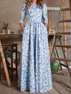 Stylish Round Neck 3/4 Sleeve Floral Print Women's Maxi DressVintage Dresses | RoseGal.com