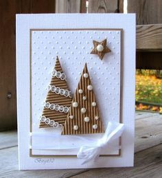 Homemade Christmas cards are the perfect gift for loved ones and of-course, you … Selbstgemachte Weihnachtskarten sind das perfekte Geschenk Christmas Cards To Make, Christmas Diy, Christmas Trees, Funny Christmas, Simple Christmas, Elegant Homemade Christmas Cards, Christmas Card Designs, Xmas Tree, Handmade Christmas Cards