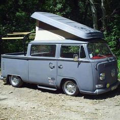 How fantastic is this tweaked-out #VW...bus? Truck? Mobile home?