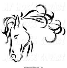 Royalty-Free (RF) Clipart Illustration of a Black Line Art Horse Head With A Blowing Mane by C Charley-Franzwa by hollie Horse Head Drawing, Horse Drawings, Animal Drawings, Art Drawings, Horse Stencil, Cartoon Silhouette, Clipart Black And White, Horse Art, Art Techniques