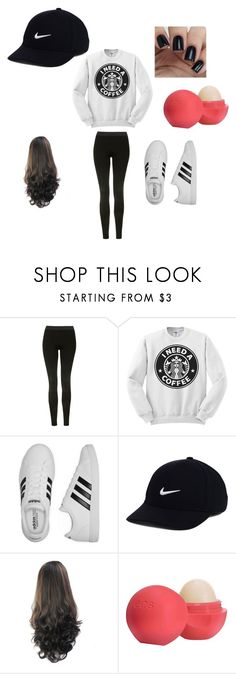 """when you just have this type of day"" by babyamber101 ❤ liked on Polyvore featuring Topshop, adidas, NIKE and Eos"