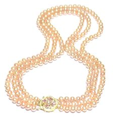 14K Solid Gold Diamond Ruby Clasp Cultured Pink Pearls Triple Necklace
