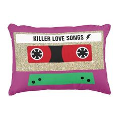 Killer Love Songs Mixtape Accent Pillow #retro #funky #fun #teen #glitter #gold