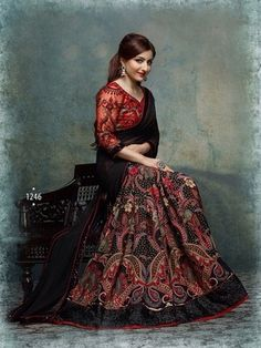 Black embroidered silk saree with blouse. #gorgeous #soha #ali #khan. #retro #effect ! - click here -> http://bit.ly/1TIgTvq