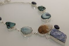 NEW CARAMEL JASPER-DRUZY-TURQUIOSE-LAPIC LAZULI  925 STERLING SILVER NECKLACE 6 #925silverpalace #Charm
