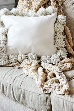 "DIY Drop Cloth Pom Pom Pillows ~2 pieces of 18""x18"" square drop cloths ~pom poms ~straight pins ~pillow form ~sewing machine ~"