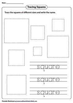 Tracing the Shape and Its Name Introduction To Geometry, Geometry Worksheets, Shape, Drawings, Kids, Color, Young Children, Boys, Colour