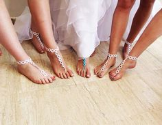 Beach wedding Crochet Barefoot Sandals in White by EmofoFashion