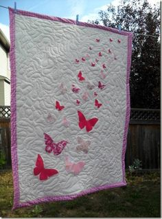 After months of procrastination, the butterfly quilt I've been working on is finally finished. It's not a perfect quilt, but I like how it t. Quilting Tips, Machine Quilting, Quilting Designs, Butterfly Quilt, Red Butterfly, Butterfly Cards, Quilted Throw Blanket, Baby Blanket Crochet, Crochet Shawl