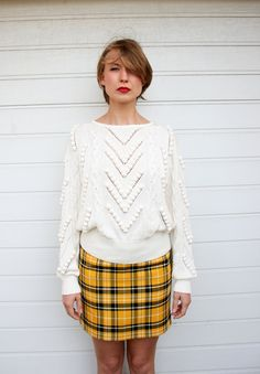 Vintage 80s Oversize Silky White Popcorn and Cable Knit Sweater. $42.00, via Etsy.