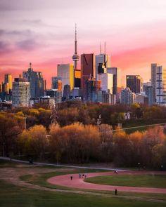 "blogTO on Instagram: ""Hello gorgeous 😍 #Toronto #RiverdalePark #Sunset #Spring #springTO #skylineTO #parkTO - 📸 @gyzhong"" Hello Gorgeous, Beautiful, Toronto Architecture, Baseball Field, Cn Tower, Your Photos, The Selection, Golf Courses, Sky"