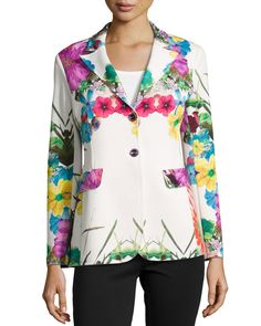 Flower-Print Pop Jacket, Size: X-LARGE (14/16), Multi - Berek