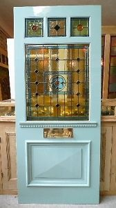 SOLID PITCH PINE STAINED GLASS FRONT DOOR /VICTORIAN/EDWARDIAN STYLE   eBay