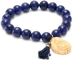 Yochi Royal Blue Buddha and Tassel Bracelet Yochi. $40.00. Made in USA