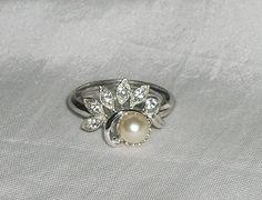 Vintage Faux Pearl and Rhinestones RingAdjustable by picsoflive, $17.00 Vintage Jewelry, Gemstone Rings, Gemstones, Pearls, Gems, Vintage Jewellery, Gem, Beading