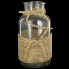 Hobby Lobby Small Clear Glass Bottle Vase with Rope Decor $6.99 (3/5/14) 3,25 W x 6.5H