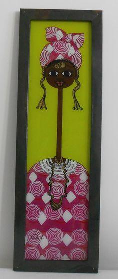 Tableau peinture sous-verre signé Mame Gueye artiste reconnu en europe et aux états unis Deco Design, Decoration, Bottle Opener, Europe, Frame, Wall, Home Decor, Green Backgrounds, Usa
