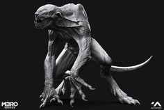 I was very honored to be a part of the Character team on the Metro Exodus. Lurker is an enemy creature I worked on (design, high poly, texturing stages). High poly was done by me from a scratch without concept but with sculpt-overpaints provided Monster Concept Art, Monster Art, Creature Concept Art, Creature Design, Alien Creatures, Fantasy Creatures, Dragon Ball, Post Apocalyptic Art, Werewolf Art